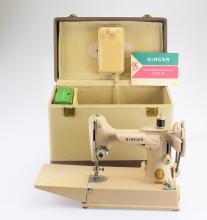 Singer Manufacturing Company VINTAGE BEIGE SINGER FEATHERWEIGHT 221K SEWING MACHINE Original Carrying Case Instruction Manuel & Oil Can Spare Parts Colored Machine Post-war