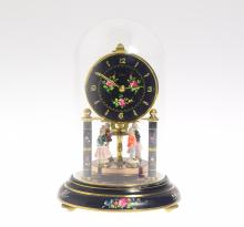 Antique Torsion Clock SCARCE VINTAGE KERNE & SOHNE 400-DAY CLOCK 1961 Porcelain Figures On Disc Pendulum Floral Motif Decorative Collectible