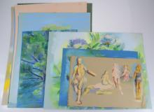 10pcs Original Pastel Drawings ROSALIND GRIPPI STILL-LIFES/LANDSCAPES/PORTRAITS c1985 Artist Signed Nature Decorative Art Ithaca College NY Salvatore Grippi