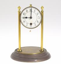 Collectible Decorative Clock ANTIQUE BADISCHE 30-DAY CLOCK 1910 Front Wind Exposed Spring Lantern Pinions Time Train Horology Horologists