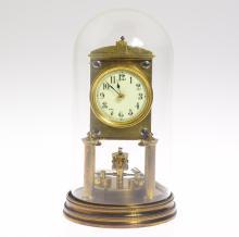 Antique Collectible Clock JUF/JAHRESURENFABRIK TORSION/400-DAY CLOCK 1909 Original Key Small Disc Pendulum Augusta Schatz Functional Decorative