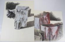 2pcs Still-Life Drawings ORIGINAL SALVATORE GRIPPI POP-EXPRESSIONIST ARTWORK 1981 Artist Signed New York School Pastel & Pencil Fine Modern Art