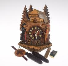 Black Forest Clock VINTAGE GERMAN CHALET ON HILLTOP ONE-DAY CUCKOO CLOCK c1955 Original Pendulum Hand Carved Wood Decorative Collectible