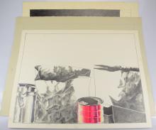 3pcs Pop-Expressionist Artwork ORIGINAL SALVATORE GRIPPI STILL-LIFE DRAWINGS 1975-1980 Artist Signed New York School Ithaca College NY Art