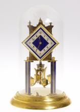 Kern & Sohne VINTAGE 400-DAY TORSION CLOCK 1949 Diamond Dial Square Pendulum Blue Columns Excellent Condition w/ Key Decorative Collectible