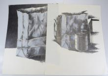 2pcs Pastel & Pencil ORIGINAL SALVATORE GRIPPI POP-EXPRESSIONIST STILL-LIFE DRAWINGS 1981 Artist Signed New York School Ithaca College NY Art