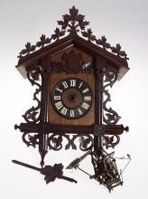 Antique Railroad Clock BLACK FOREST GERMANY 30-HOUR CUCKOO CLOCK c1915 Hand Carved Wooden Articulated Winged Bird R Weisser & Co