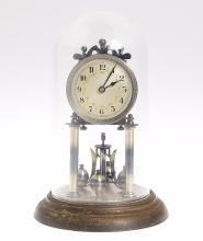Year Clock Co JAHRESURENFABRIK ANTIQUE TORSION CLOCK c1935 Elephants Imprint Nickle Plated Movement Parts German 400-Day Clock Nicely Executed Pendulum