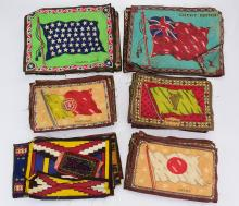 Collectible Tobacciana ANTIQUE TOBACCO TRADING SILKS Flag Images United States Great Britain Germany Cuba Spain Austro-Hungary Portugal Belgium Italy