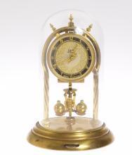 Vintage Torsion Clock AUG SCHATZ & SOHNE 400-DAY CLOCK 1954 Excellent Condition w/ Key 3 Ball Pendulum Adjustable Feet Collectible Decorative