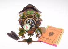 Collectible Cuckoo Clock VINTAGE HUBERT HERR HAND CARVED ONE-DAY CUCKOO CLOCK c1965 Original Packaging/Tag/Instructions 2 Birds Black Forest Germany
