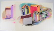 2Pcs Pop-Expressionist SALVATORE GRIPPI STILL LIFE Vintage Pastel New York School Ithaca College Bold Color Original Artwork Works on Paper