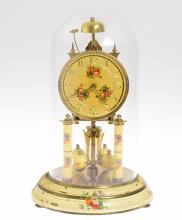 Antique Torsion Clock HERR PASSING HOUR STRIKE 400-DAY CLOCK 1952 Scarce Clock w/ Bell Glass Case Painted Base Collectible German Decorative Vintage