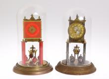 2pcs Antique Torsion Clocks SCARCE SCHLENKER & POSNER W/ KUNDO PARTS CLOCK 1930 & 1936 Gold Filigree Orange Paintwork 400-Day Clocks