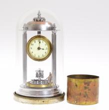 Philip Hauck RARE ANTIQUE MINIATURE BANDSTAND CLOCK 1905 'Anniversary' Clock 400-Day Clock Smallest Disc Pendulum 4 Pillars Collectible