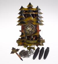 Vintage German Clock BLACK FOREST ONE-DAY MUSICAL CUCKOO CLOCK W/ CAROUSEL c1961 Hand Carved Decorative Collectible Clock
