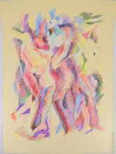 Figurative Abstract Expressionist ORIGINAL SALVATORE GRIPPI COLORED PENCIL DRAWING 2002 Artist Signed New York School Modern Artwork Decorative