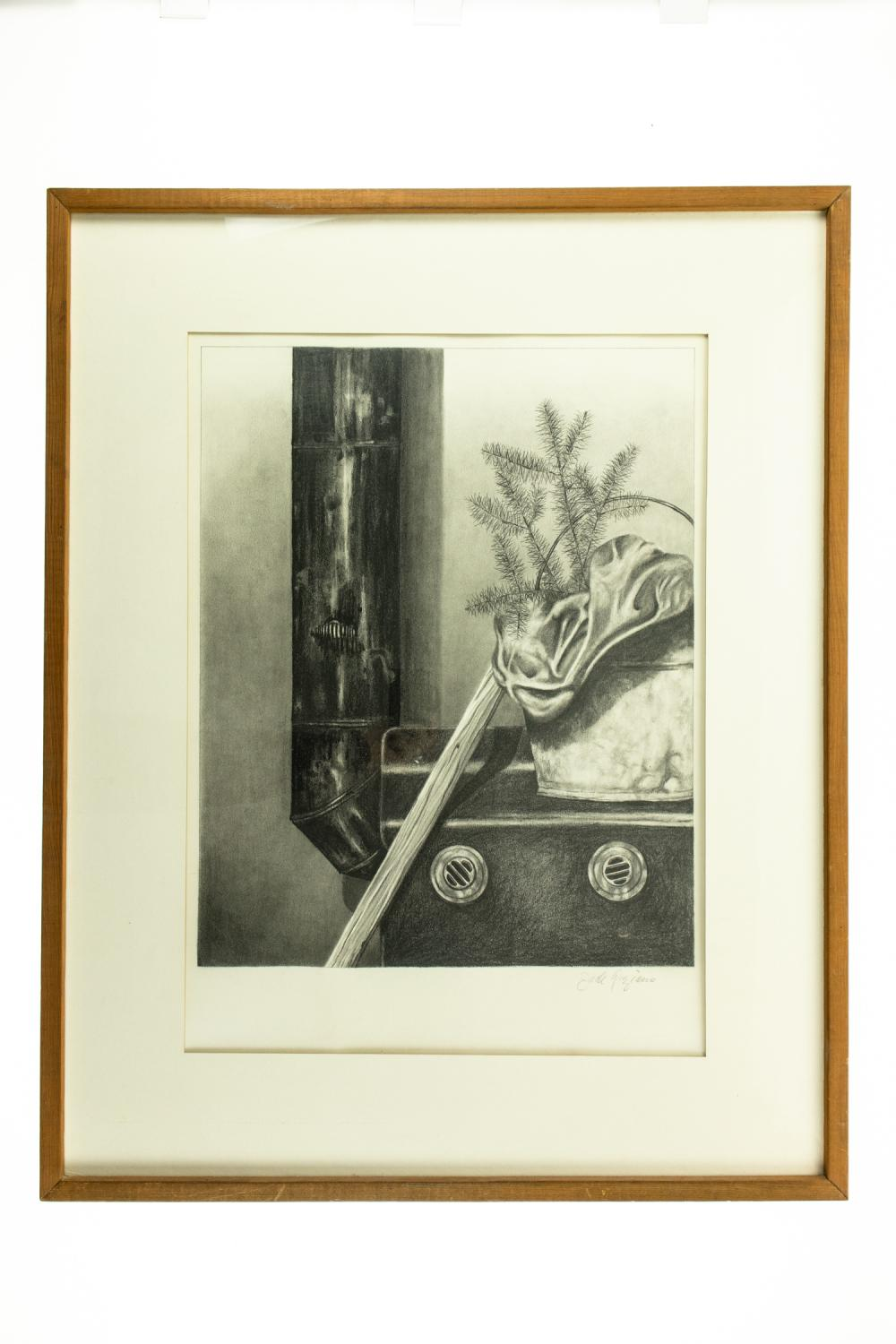 Jack Graziano WOOD STOVE ORIGINAL PENCIL/CHARCOAL DRAWING