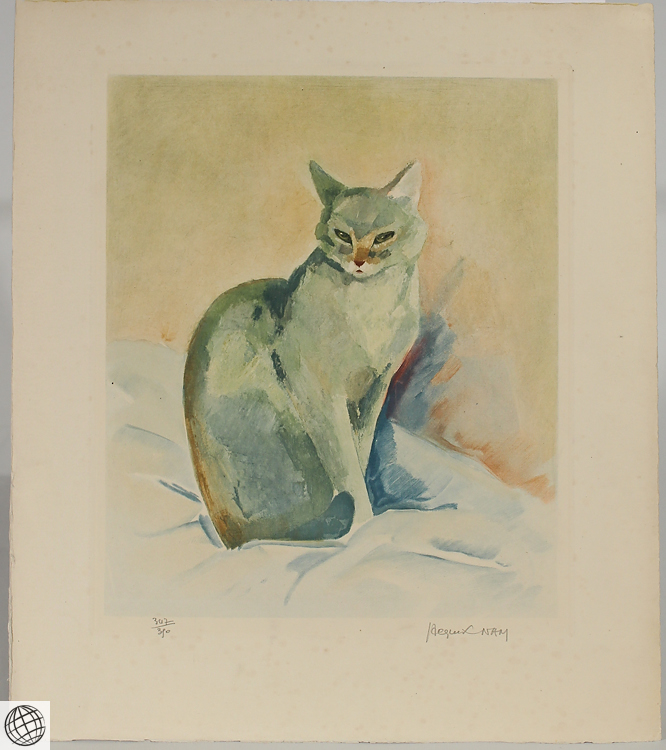 Cat portrait jacques lehmann nam c1930 vintage original anim Paintings that are worth a lot of money