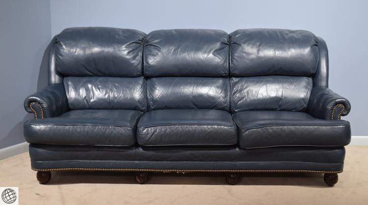 2pcs classic leather matching blue leather recliner and sofa for Blue leather reclining sofa