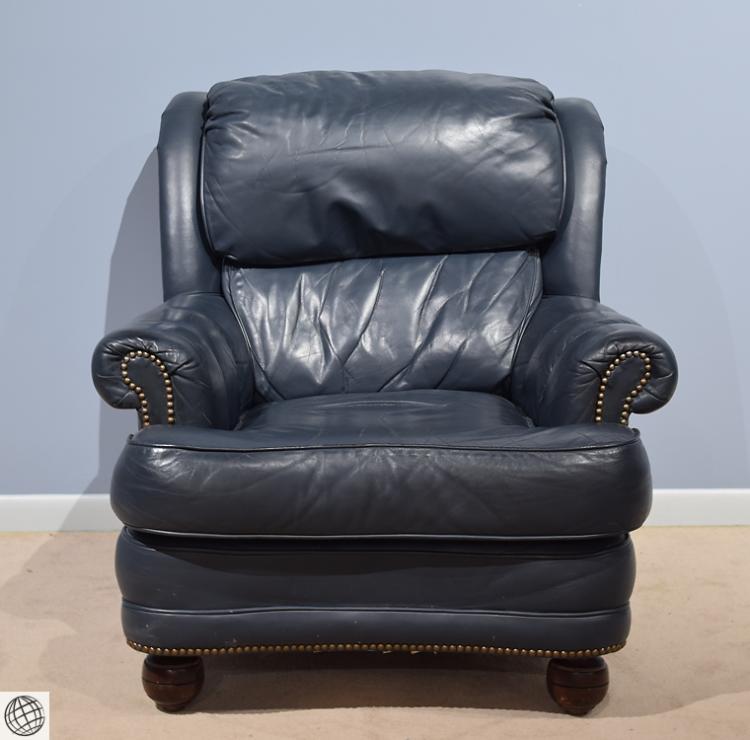 Blue leather reclining sofa shae joplin blue leather for Blue leather reclining sofa