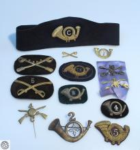 13Pcs US Army Infantry and Cavalry BRANCH INSIGNIA CAP HAT AND COLLAR PINS AND PATCHES Antique to Vintage c 1860s to 1940s Militaria Regiment Civil War WW1 WW2 World War Union Veteran Soldier Officer Rank Makers Mark AMICO Badge Ornament Kepi Cap Slouch Hat Coat Tradition Military United States Army Uniform Regulation Historical Collectible