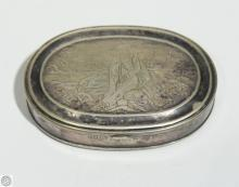 Antique Silverplate CHARLES PARKER OVAL SOLDIER SNUFF BOX 1860 Patented Intaglio Engraving War Battlefield Dead Fine Houseware Decorative Civil War Estate Collectible