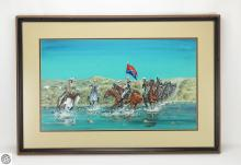 c.1969 Framed Painting CUSTERS LAST STAND BY KEMPER  Little Bighorn River Montana 7th Cavalry Brigade Defeat Historical Battle Signed Dated