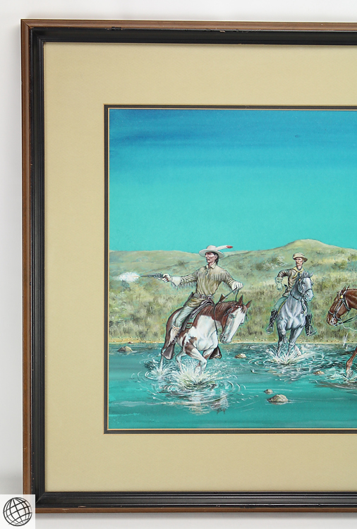 Framed painting custers last stand by kemper little b Paintings that are worth a lot of money