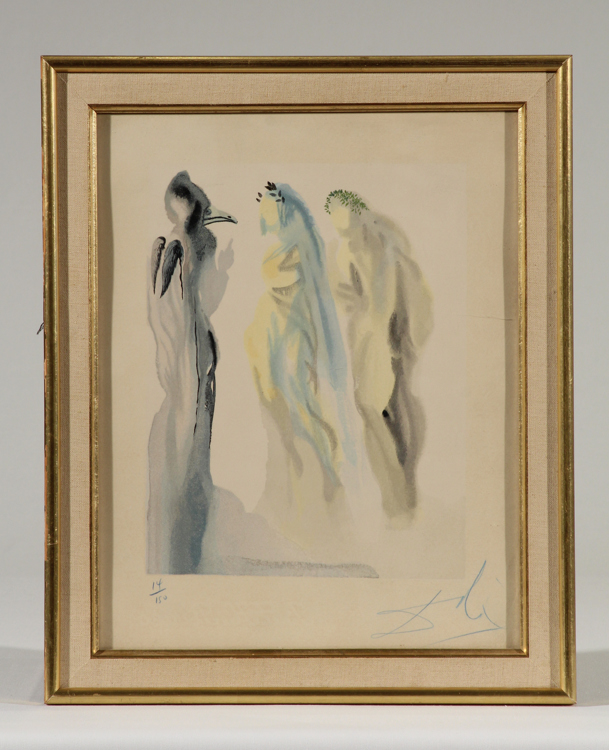 Signed Numbered Watermarked SALVADOR DALI Original Color Woodcut Dante Divine Comedy Suite Paradise Canto 9 Venus Framed Surrealist Art