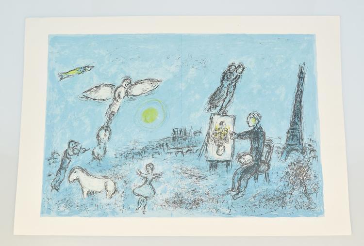Marc chagall derriere le miroir stone lithograph artist and for Marc chagall derriere le miroir