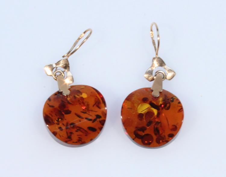 Precious Gemstones 14 KARAT ROSE GOLD & BALTIC AMBER EARINGS Air Bubbles Jackets Settings