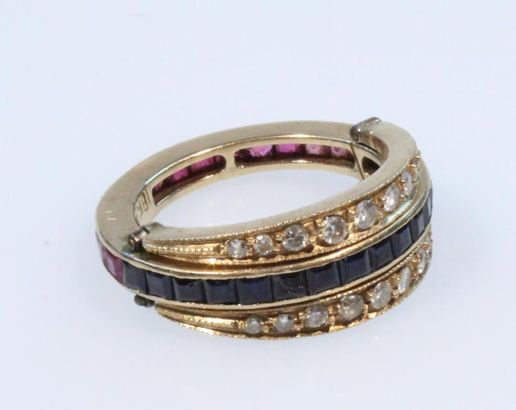 Precious Gemstones 18 KARAT TRANS FRANCE RING Vintage Jewelry Diamond Ruby Sapphire Hinged Movable Band Additions Channel Set
