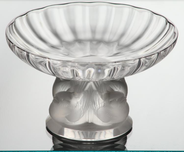 French Art Glass LALIQUE PEDESTAL DISH WITH BIRD FIGURES AT BASE Frosted Crystal Bowl Home Decor Birds