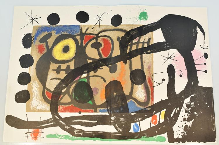Joan Miro VINTAGE STONE LITHOGRAPH Deluxe French Art Periodical Derriere Le Miroir Plates Assassination Of Painting