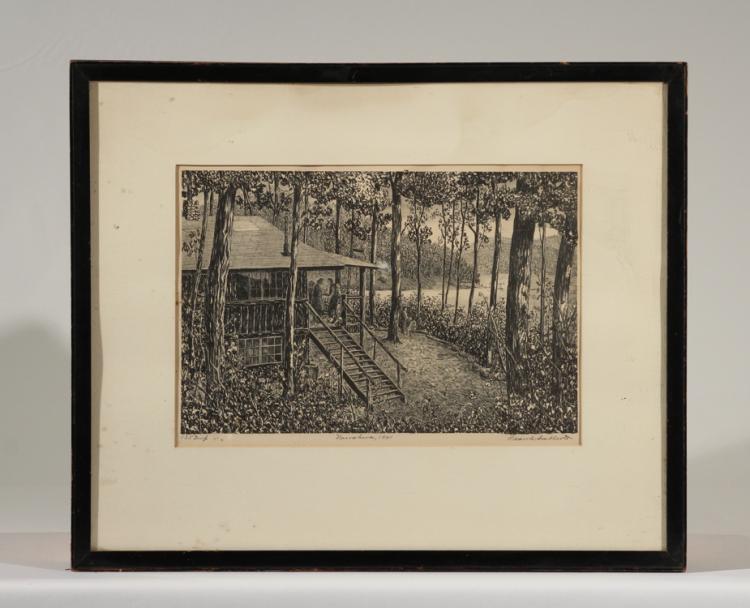 Signed Ltd Ed Lithograph FRANK CALLCOTT Nawakwa 1941 Forest Cabin Summer Camp Texas Artist Dallas Art Museum Original Framed Vintage Print