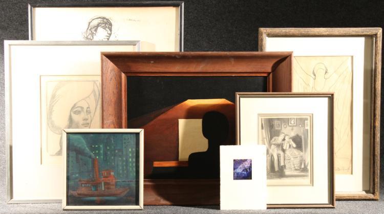 7Pcs Oil on Canvas Paintings FRAMED ARTWORK Steel Engraving Halftone Ink Wash Sketch Fernando Llosa Brown Hilman Walkins After Ault Original Art