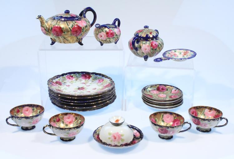 21Pcs Hand-Painted Gold ANTIQUE JAPANESE EGGSHELL CHINA TEA SET c1915 Teapot Cups Saucers Strainer Diffuser Creamer Sugar Bowl Floral Motif Flowers Blue Pink