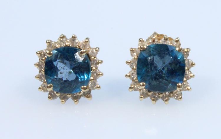Halo-Style 14K YELLOW GOLD TOPAZ & DIAMOND EARRINGS London Blue Vintage Jewelry Formal Evening Attire