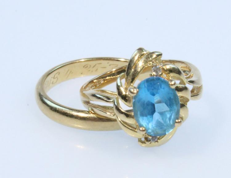 2Pcs Precious Gemstone VINTAGE GOLD RINGS Blue Topaz Jewelry Wedding Band