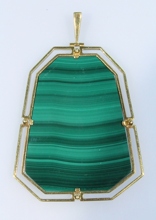Gemstone 14K MALACHITE PENDANT Vintage Hand-Made Gold Jewelry Deco Design
