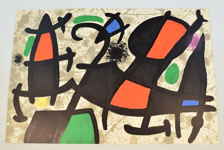 Joan Miro VINTAGE COLOR STONE LITHOGRAPH c1965 Surrealism Deluxe French Art History Periodical Derriere Le Miroir Assassination Of Painting