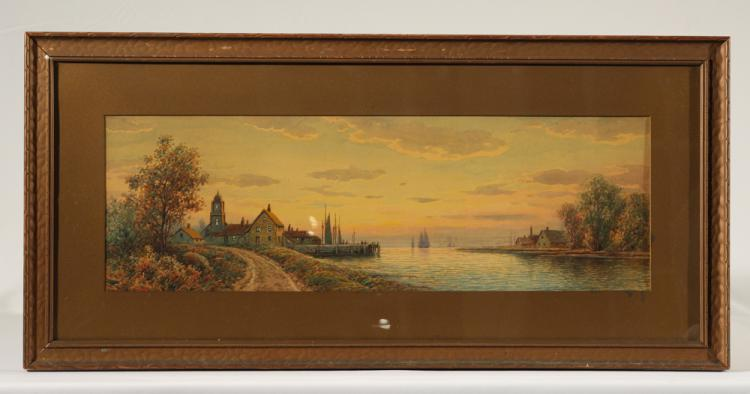 Large Watercolor Painting WILLIAM PASKELL Signed Sunset Harbor Scene Wharf Sailboats Nautical Rockport Massachusetts Original Framed Antique Art