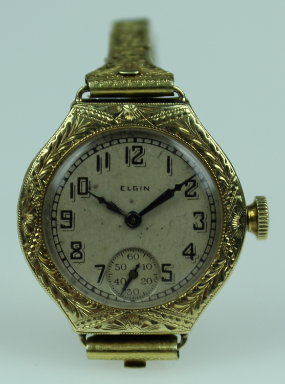 Vintage Art Deco LADIES ELGIN WRISTWATCH C 1920 Ornate Gold Floral Geometric Filigree Openwork Adjustable 3