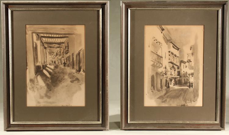 2Pcs Original Watercolors VERNON HOWE BAILEY Pair Street Scenes Archivally Matted Framed Antique Art Paintings Scribner's Harper's Illustrator