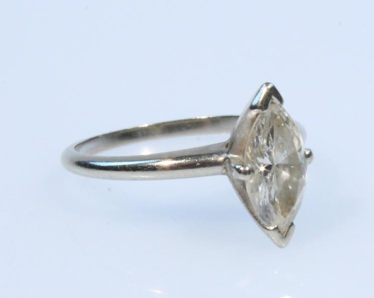 Wedding Engagement 14K WHITE GOLD MARQUISE 1.5CT DIAMOND SOLITAIRE RING Vintage Jewelry Precious Gemstone
