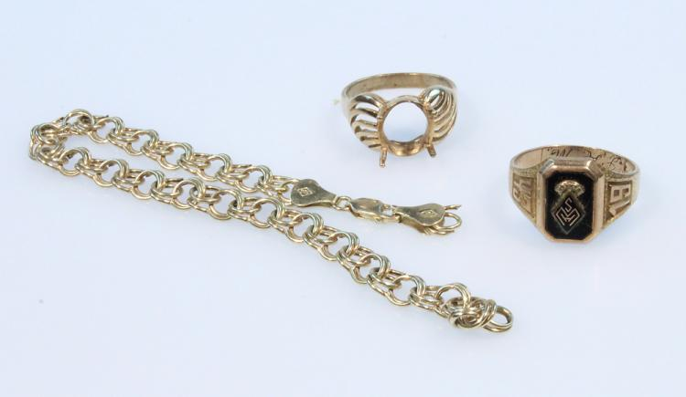 3Pcs Vintage Jewelry 14K GOLD RINGS & CHAIN Weaver Class Ring 1943 Bracelet Hammered Engraved