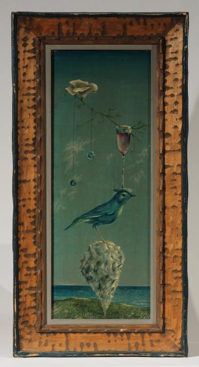 Surrealist Painting DON W. LORD Vintage Signed American Magical Realist Bird Ocean Wine Glass Crystal Balls Flower Philadelphia Original Framed Art