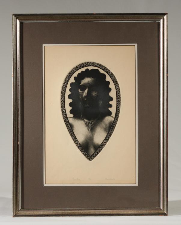 David Bumbeck PRIESTESS 1940 Signed Limited Edition Vintage Etching Framed Art Modern Tribal Woman Mythological Portrait American Artist