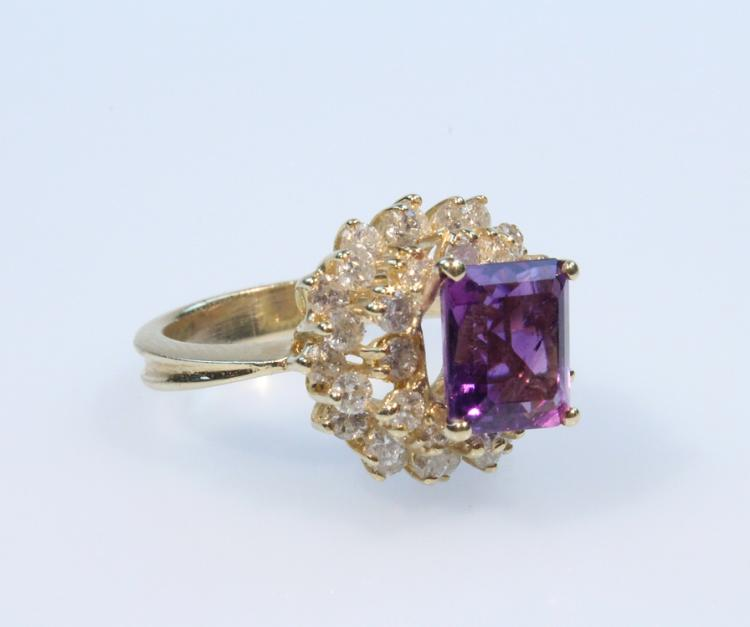 Precious Gemstones 14K AMETHYST & DIAMOND RING Vintage Gold Jewelry Emerald Cut Center Stone